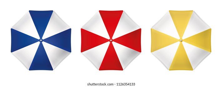 Beach umbrella set. Top view. Vector design isolated for all backgrounds.