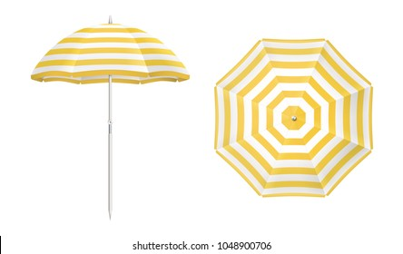 Beach umbrella set. Yellow striped design. Isolated for all backgrounds.