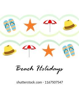 beach umbrella starfish hat flip flops beach holiday vector background