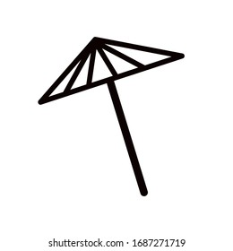 Beach umbrella. Summer icons. Black-white set minimalistic set. Simple vector illustration on a white background.