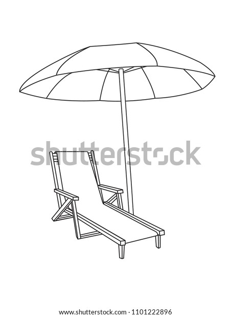 Beach umbrella and Sun lounger icon vector, solid pictogram isolated on white.