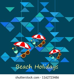 beach umbrella sunglasses cocktail beach holiday vector background