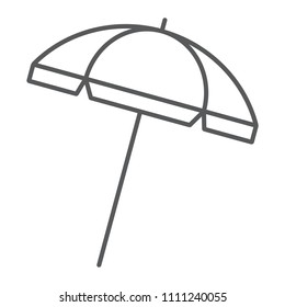 Beach umbrella thin line icon, travel and parasol, sun umbrella sign vector graphics, a linear pattern on a white background, eps 10.