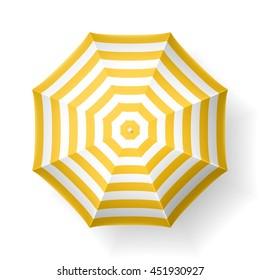 Beach umbrella, top view. Vector illustration.
