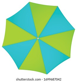 Beach umbrella turquoise and green colors isolated on white background
