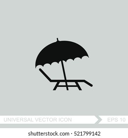 Beach umbrella vector icon. Summer vacation sign. Parasol with deck chair.
