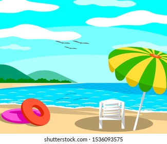 Beach with umbrellas and chairs On a day with clear skies, good atmosphere. The sea is beautiful and the mountains are seen far away. And there are birds flying on top.