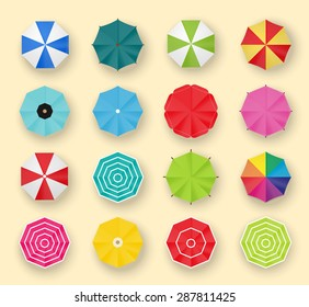 Beach umbrellas set, top view, isolated, vector illustration. Collection of parasols icons