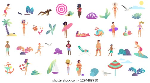 Beach vacation summer tiny people activities set. Dancing, surfing, playing, eating, sunbathing, surfing and posing isolated vector illustration.