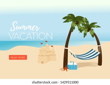 Beach vacation vector illustration with palms and sandcastle. Summer background