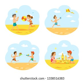 Beach vacations of children vector, boys and girls playing on beach. Boys with guns loaded with water, volleyball and wind kite in sky, sand castle
