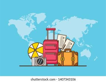 beach vacations world bags ball camera tickets vector illustration
