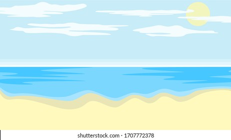 Beach vector in landscape with clouds. Background, illustration.
