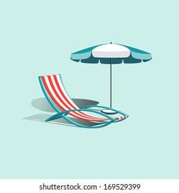 Beach vector  umbrella with deck chair