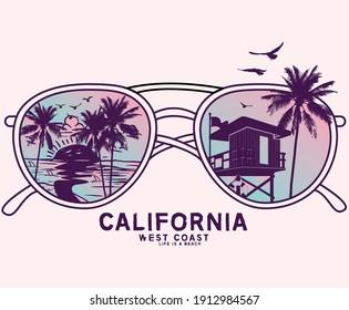 Beach vibes retro sunglass vector artwork ,  California west coast long beach design for apparel and others
