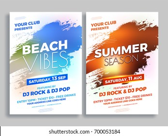 Beach Vibes and Summer Season Party Flyer Design.