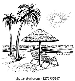 Beach view with lounger and parasol, vector sketch illustration. Sunny summertime scene with palms and sea.