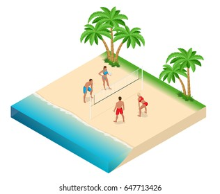 Beach volley ball concept. Vector isometric illustration