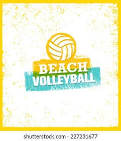 Beach Volleyball Bright Vector Design Element on Grunge Background.