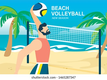 Beach Volleyball Horizontal Banner, Sportsman Throw Ball over Basket, Competition on Sandy Seaside with Palms. Summer Time Vacation, Healthy Lifestyle Activity, Sport. Cartoon Flat Vector Illustration