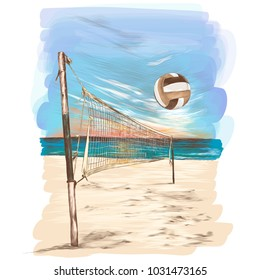 beach volleyball landscape sketch vector graphics colored drawing