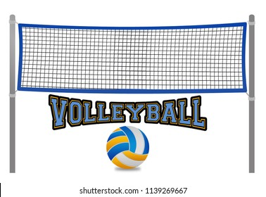 Beach volleyball net and ball on white background, vector illustration