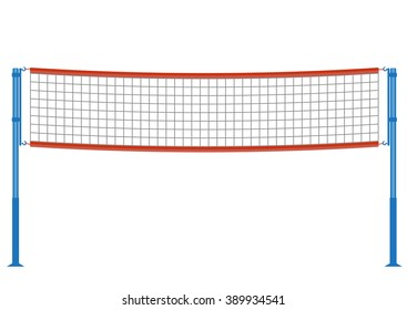 beach volleyball net illustration. Badminton net isolated on white background.