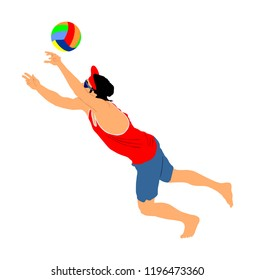 Beach volleyball player vector illustration isolated on white background. Volleyball boy in action. Summer time enjoying on sand. Man sport activity. Active life style.