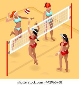 Beach Volleyball Players 2016 Sports Icon Set. 3D Isometric Beach Volleyball. Sporting Championship People Set Beach Volley Competition. Sport Infographic Volley Vector Illustration