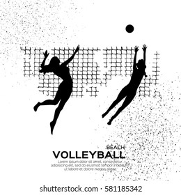 Beach Volleyball is popular sport game. Funny young team women with ball and net. Championship Volleyball net. Black silhouette. Vector Illustration