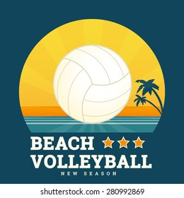 Beach volleyball seasonal card with bright sunset and ball in the center. Text outlined. Free font RobotoSlab