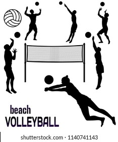 Beach volleyball silhouettes on white background, vector illustration