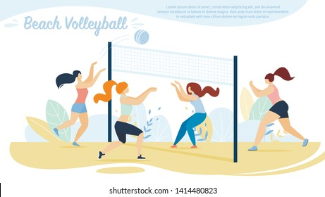 Beach Volleyball, Sportswomen Teams Competition, Girls Playing with Ball on Sandy Seaside with Basket. Summer Time Vacation, Healthy Lifestyle Activity, Sport. Cartoon Flat Vector Illustration, Banner