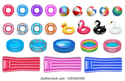 Beach water toys. Pool equipment. Realistic style. Set of rubber icons for water sports and recreation. Circles, birds, pools, rubber bed. Isolated on a white background. Vector.