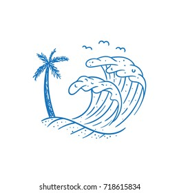 beach wave vector illustration