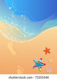Beach, waves, surf, sand and footprints