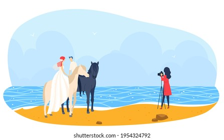 Beach wedding, horse together people photographer, couple love relationship, design, in cartoon style vector illustration.