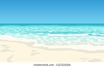 Beach white sand vector cartoon illustration, azure blue sea, surf waves, beautiful scenery of ocean shore. Blue lagoon, bay, coast line, horizon, water splash, design element for background.