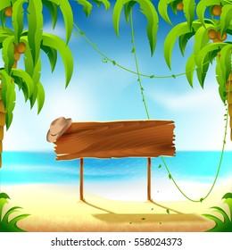 Beach, wooden sign, resort vacation, vector illustration