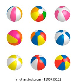 Beachballs set, isolated on white background, vector illustration. Children toy for playing on the beach