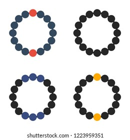 beaded bracelet flat icon. You can be used beaded bracelet icon for several purposes like: websites, UI, UX, print templates, presentation templates, info-graphics, web and mobile phone apps.