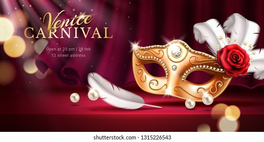 Beads and golden mask at mardi gras parade banner. Rose and feather near colombina mask as background for venice carnival invitation. Flyer or poster with curtain for venetian holiday.Masquerade theme