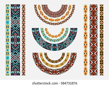 Beadwork with ornament. Ethnic jewelry. Fashion embroidery for women's clothing.