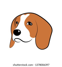 Beagle dog head isolated on white background. Dog breeds collection. Vector illustration