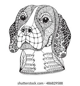 Beagle dog head zentangle stylized, vector, illustration, freehand pencil, hand drawn, pattern. Zen art. Ornate vector. Lace.
