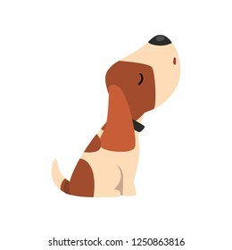 Beagle dog howling, cute funny animal cartoon character vector Illustration on a white background