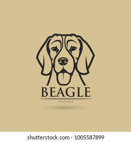 Beagle dog - isolated outlined vector illustration
