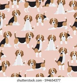 Beagle dog on brown background pattern. Animal seamless pattern design.