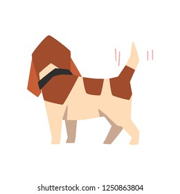 Beagle dog wagging tail, funny animal cartoon character vector Illustration on a white background