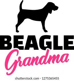 Beagle Grandma silhouette in black